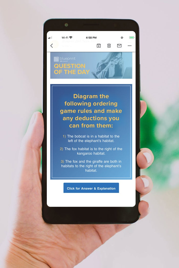 LSAT practice questions by Blueprint shown on smartphone